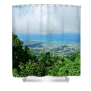 Puerto Plata Mountain View Of The Sea Shower Curtain