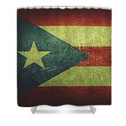 Puerto Rico Distressed Flag Dehner Shower Curtain