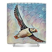Puffin During Sunrise Shower Curtain