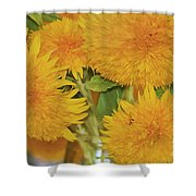 Puffy Golden Delight Shower Curtain