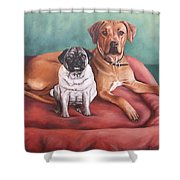Pug And Rhodesian Ridgeback Shower Curtain