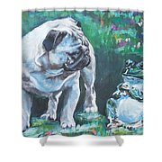 Pug Fawn With Frog Shower Curtain