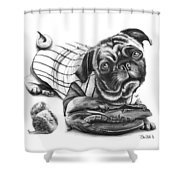 Pug Ruth  Shower Curtain by Peter Piatt