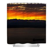 Puget Sound Olympic Mountains Sunset Shower Curtain