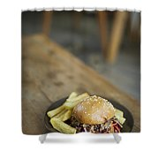 Pulled Pork Bun With Fries Shower Curtain