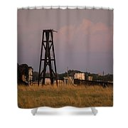 Pump Jack Golden Hour Shower Curtain