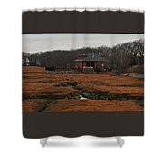 Pumping Station On The Marsh Shower Curtain
