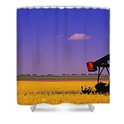 Pumpjack In A Canola Field Shower Curtain