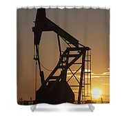 Pumpjack Silhouette Shower Curtain by Michael Interisano