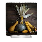 Pumpkin, Corncob, Autumn Leaves And Burning Candles Decoration O Shower Curtain