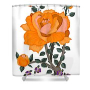 Pumpkin Rose And Violas Shower Curtain