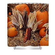 Pumpkins And Corn Shower Curtain