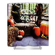Pumpkins On Porch Shower Curtain