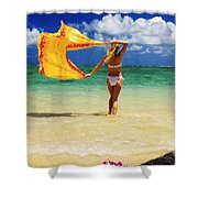 Punaluu Beach Vacation Shower Curtain by Tomas del Amo - Printscapes