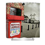 Punch And Judy Theatre On Llandudno Promenade Shower Curtain