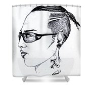 Punk Imaginative Portrait Drawing  Shower Curtain