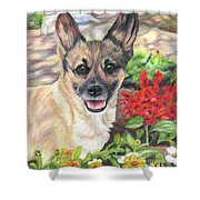 Pup In The Garden Shower Curtain