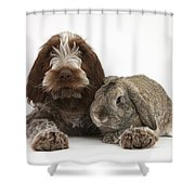 Puppy And Rabbt Shower Curtain
