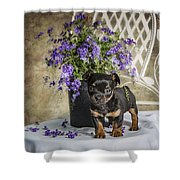 Puppy Dog With Flowers Shower Curtain