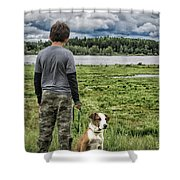 Puppy Guard Majestic Forest Shower Curtain