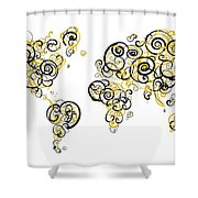 Purdue University Colors Swirl Map Of The World Atlas Shower Curtain