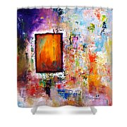 Purple Abstract Oil Painting Purplicious Shower Curtain