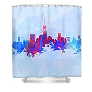 Purple And Blue New York Skyline Shower Curtain