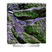 Purple And Green Rock Shower Curtain