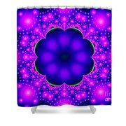 Purple And Pink Glow Fractal Shower Curtain