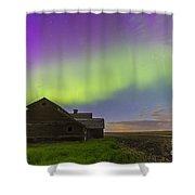 Purple Aurora Over An Old Barn Shower Curtain