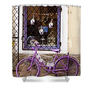 Purple Bicycle Shower Curtain