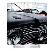 Purple, Black And Chrome Shower Curtain