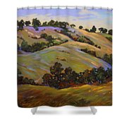 Purple Blooms And Oaks Shower Curtain
