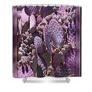 Purple Cactus Canvas Shower Curtain