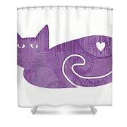 Purple Cat- Art By Linda Woods Shower Curtain