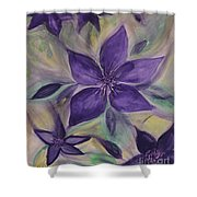 Purple Clematis Abstract Shower Curtain