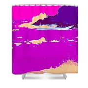 Purple Crashing Waves Shower Curtain