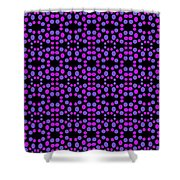 Purple Dots Pattern On Black Shower Curtain