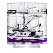 Purple Fishing Boat Shower Curtain