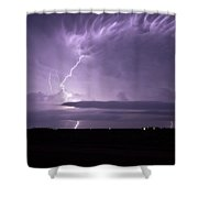 Purple Flames - Lightning On The Great Plains Shower Curtain
