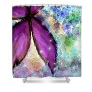 Purple Flower Watercolor Doodle Shower Curtain