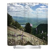 Purple Flowers At Table Rock Overlook Shower Curtain by Kelly Hazel