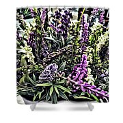 Purple Flowers In Bloom Shower Curtain