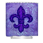 Purple French Fleur De Lys, Floral Swirls Shower Curtain