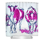 Purple Friesian Holstein Cows Drawing Shower Curtain