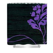 Purple Glamour On Black Weave Shower Curtain by Writermore Arts
