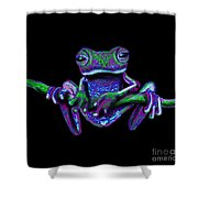Purple Green Ghost Frog Shower Curtain