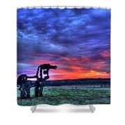 Purple Haze Sunrise The Iron Horse Shower Curtain