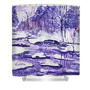 Purple Ice On Kaaterskill Creek Shower Curtain
