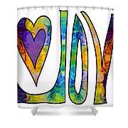 Purple Joy Abstract Inspirational Words Artwork By Omaste Witkow Shower Curtain